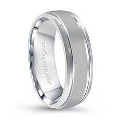 Polished Comfort Fit Men's Band in White Gold - 15% OFF and Lifetime Warranty