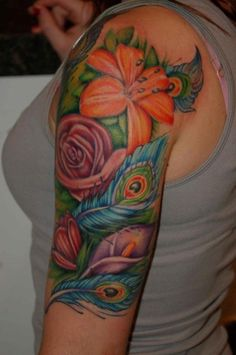 Half Sleeve watercolor tattoo of Floral Peacock - flowers, feather, rose, tigerlily
