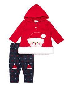 This Red Santa Hooded Long-Sleeve Top & Navy Fleece Leggings - Newborn, Infant, Toddler & Girls is perfect! Fleece Leggings, Skinny Legs, Infant Toddler, Toddler Girls, Long Sleeve Tops, Hoods, Sleeves, Red, Cotton
