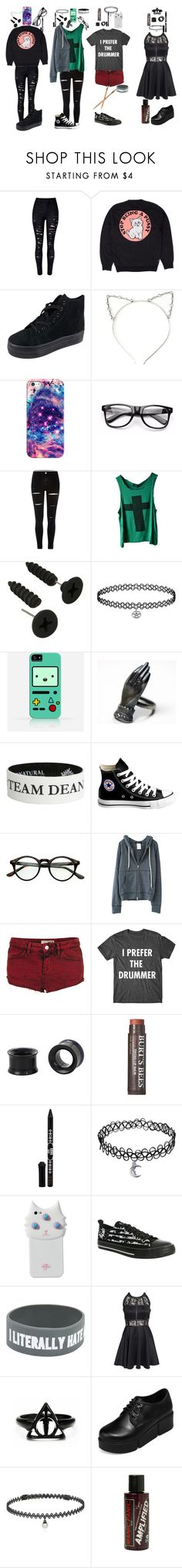 """""""Whats your favorite(s)?"""" by hold-on-til-may ❤ liked on Polyvore featuring RIPNDIP, Glamorous, Casetify, Samsung, Converse, Topshop, Burt's Bees, Anna Sui, Valfré and AX Paris"""