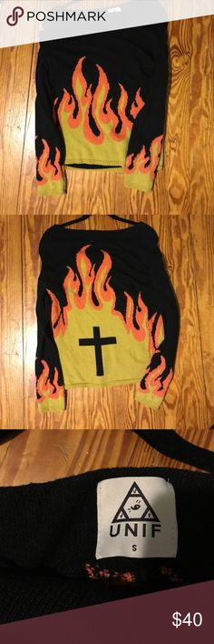 Flame UNIF Sweater AWESOME flame UNIF sweater from Dolls Kill!!! Lightly worn. UNIF Sweaters Crew & Scoop Necks