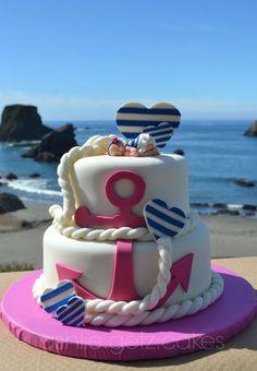 Nautische Babyparty-Torte - Baby k - - Baby Shower Foods - Kuchen Decors Pate A Sucre, Beach Baby Showers, Nautical Cake, Nautical Party, Beach Cakes, Girl Cakes, Cute Cakes, Cake Creations, Baby Shower Cakes