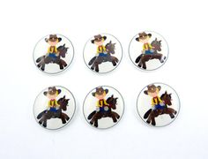 Cowboy Buttons  6 Handmade Buttons for Sewing  by buttonsbyrobin, $10.50