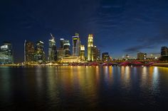 Singapore City Skyline at Blue Hour by David Gn Photography, via Flickr