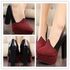 Fashion High Waterproof Platform Plaid Color Shoes(Dark Red)