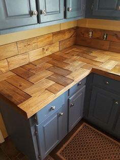for the home in 2019 kitchen wall design, kitchen decor, rustic kitchen d Kitchen Remodel, Kitchen Island Diy Rustic, Wood Kitchen, Diy Kitchen Countertops, Rustic Kitchen Cabinets, Home Kitchens, Diy Kitchen, Rustic Kitchen, Kitchen Design