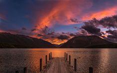 Download wallpapers Rotoiti Lake, 4k, pier, sunset, New Zealand