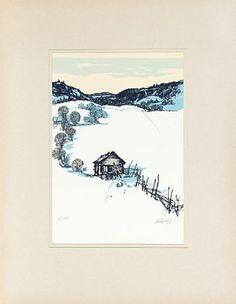 """KJELL AUKRUST ALVDAL 1920 - 2002 """"Gamal ut-løe i Alvdal"""" Fargeserigrafi, 15/345. 28x19 cm (L) Signert nede til høyre: Aukrust Auction, Diagram, Map, World, Christmas, Xmas, Location Map, Navidad, Maps"""