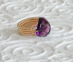 Tamar Mani Purple #Amethyst #Swarovski #Ring, Wrapped with 14K Gold-Filled Wire #finejewelry #valentinesday #gift  #girlfriend #women #ring #wire #gemstone