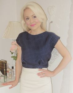 My Colette sencha blouse made from a polka dot silk twill