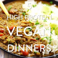 food These are my five favourite recipes for High Protein Vegan Dinners instant pot recipes easy healthy Dinners favourite Food High Protein recipes Vegan Proteine Vegan, Vegan Easy, Easy Vegan Dinner, Vegan Dinner Recipes, Vegan Foods, Vegan Dishes, Vegan Curry, Vegan Recipes Videos, Vegan Recipes Easy