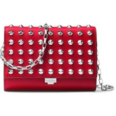 Michael Kors Collection Yasmeen Small Studded Leather Clutch ($690) ❤ liked on Polyvore featuring bags, handbags, clutches, red clutches, leather purses, leather clutches, red hand bags and handbags clutches