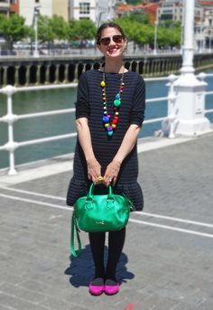 Colourful black dress 23-5-2014 Vestido / Dress: MSGM (Old)Camiseta / Tee: Zara (SS14)Chaqueta / Jacket: Zara (Old)Zapatos / Shoes: United Nude (SS14)