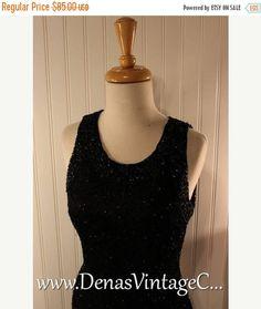 Sale 50% OFF 80s Vintage Black Silk Beaded Sequin Prom Party Cocktail Gatsby Mini Dress Laurence Kazar Sz S/M