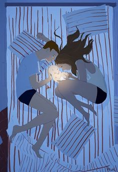 A father and mother cradle their shining newborn in their bed. Family illustration by artist Pascal Campion. Blues, with a bright white in the middle. by 19 inches. Shipped flat and signed by the artist. Pascal Campion, Family Illustration, Illustration Art, Art Amour, Pregnancy Art, Pregnancy Timeline, Pregnancy Pictures, Pregnancy Journal, Early Pregnancy