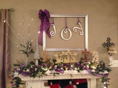 JOY!!  Old frame remove glass  spray paint color of choice  JOY letters & ribbon purchased at Hobby Lobby CHRISTmas DIY