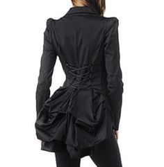 Betsey Johnson RARE Jacket BUSTLE BACK Black CORSET Tie STEAMPUNK Dress Coat 8 M #BetseyJohnson #BasicJacket