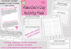 "Valentines Day Fun Activity Pack {10 pages} This activity pack includes writing, spelling, and math activities, as well as a Container Decorating Contest. The Container Contest files come in both color and black and white.  Files include: *Valentine Letter w/ Container Contest (color & black and white) *Conversation Hearts Graphing (with colors or without colors listed) *Type of Valentines Graphing *How many words can you make with ""VALENTINES"" *Cupids Little Helper writing prompt"
