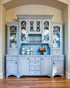 furniture quality blue kitchen cabinets with plate rack, glass cabinets carefully craft this Old World design Blue Kitchen Cabinets, China Cabinet, Cabinet, Furniture, Interior, Old World Kitchens, Country Kitchen Designs, Home Decor, Farmhouse Dining