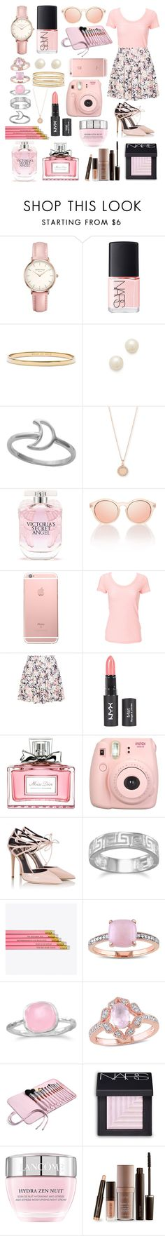 """""""On Wednesdays We Wear Pink"""" by andiecomino ❤ liked on Polyvore featuring Topshop, NARS Cosmetics, Kate Spade, Juliet & Company, Midsummer Star, Astley Clarke, Victoria's Secret, Le Specs, Christian Dior and Fujifilm"""