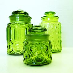 Vintage Green Glass Canister Jars - L. I have these--stored away after many years of use. Glass Canisters, Kitchen Canisters, Vintage Dishes, Vintage Glassware, Vintage Green Glass, Glass Kitchen, Green Kitchen, Star Patterns, Stars And Moon