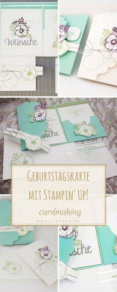 Geburtstagskarte mit dem Stempelset Einfach Wunderbar von Stampin' Up! gestalten. Die Karte ist in einer Verpackung integriert und kann zum Beispiel auch als Geldgeschenkverpackung oder Einladung verwendet werden. Wie ihr sie nachbasteln könnt, zeige ich euch im Blogbeitrag mit Videoanleitung.