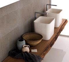 Especially: wood with rarity value for the bathroom - picture 14 - Washbasin Wood, House Design, Wash Basin, Bathroom Pictures, Bathroom Items, Bathroom Taps, Amazing Bathrooms, Sink Shelf, Sink
