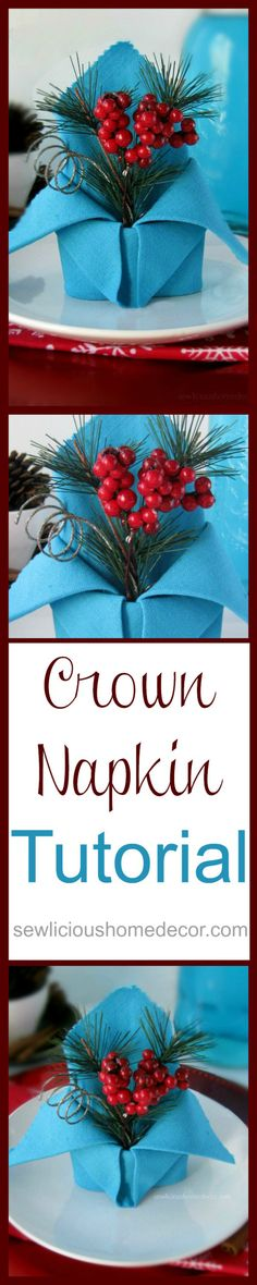 Folded Holiday Crown Napkin Tutorial