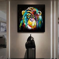 Watercolor Thinking Monkey Wall Art Canvas Prints Abstract Animals Pop Art Canvas Paintings Wall Decor Pictures For Kids Room Tableau Pop Art, Tableau Design, Canvas Wall Art, Wall Art Prints, Canvas Prints, Canvas Paintings, Colorful Wall Art, Modern Wall Art, Banksy Wall Art