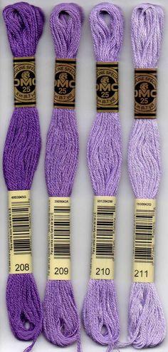 DMC six-stranded embroidery floss. 208 - Lavender - Very Dark; 209 - Lavender - Dark, 210 - Lavender - Medium, 211- Lavender - Light; 221 - Shell Pink - Very Dark; 223 - Shell Pink - Light; 224 - Shell Pink - Very Light, 225 Shell Pink - Ultra Very Light