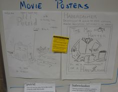 """During our final quarter, my students create new vocabulary & writing activities for each other, and the best ones become actual options.  Here, students created horror movie posters, where the vocabulary word has to be in the movie's title or its 'tag line.'  I apologize for my eighth graders' dark sense of humor, but they're 8th graders!  Click on the image to zoom in, especially to see the yellow paper, which explains the activity's specific criteria for """"full credit."""""""