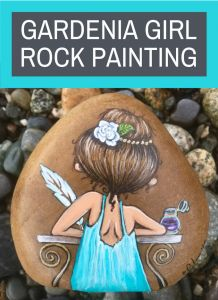 Painted Rock Gardenia Girl Giveaway - Rock Painting Ideas