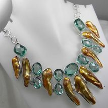 Stunning Green Checker Quartz Biwa Pearl Necklace $59