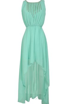 Rock Candy Chiffon High Low Dress in Mint  www.lilyboutique.com