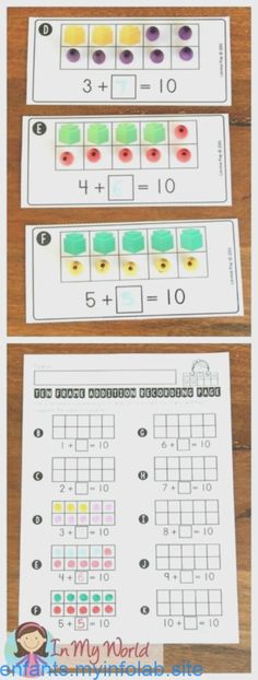 FREE Back to School Math Centers for Kindergarten. Ten frame addition making 10 - Art Sketches Ten Frame Activities, Math Activities, Maths Games Ks1, Maths Eyfs, Subtraction Activities, Math Worksheets, Making 10, Anchor Charts, Math Gs