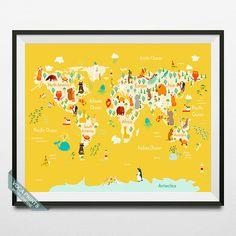 Animal World Map World Map Poster Animal Map Print by VocaPrints