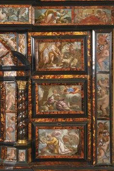 An Italiantortoiseshell, ebony, ebonised and ivorycabinet applied with paintings on glass, Neapolitan mid 17th century