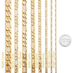 Life Time Warranty 2.5mm Gold figaro Chain made in USA,30x thicker gold 20 24,30in (20, yellow-gold