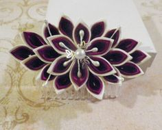 $14.00 Burgundy and Ivory Kanzashi Flower Hair Comb