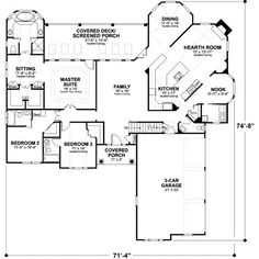 awesome layout..maybe put the master bedroom at the hearth room to get it away from the other bedrooms.