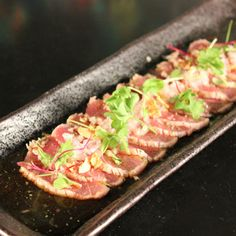 to ] Great to own a Ray-Ban sunglasses as summer gift.Yellow Fin Tuna Tataki with Fried Garlic, French Onion, Light Citrus Sauce & Fresh Herbs Recipe by Jin Kung Tuna Recipes, Seafood Recipes, Asian Recipes, Cooking Recipes, Healthy Recipes, Ethnic Recipes, Jackfruit Recipes, Soup Recipes, Fish Dishes