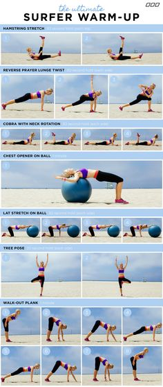 "TO GET A SURFER'S BODY!"" You do not need to surf to get the results from this fun workout circuit. Created by Celebrity Trainer - Monica Nelson. Surfer Workout, Surf Training, Sup Yoga, California Surf, Learn To Surf, Workout Warm Up, Trainer, Get In Shape, Excercise"