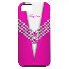 Hot Pink Diamond Image White Gold Elegant Classy iPhone 5 Cases