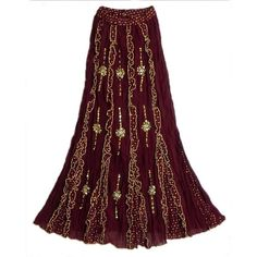 Maroon Cotton Long Skirt with Frills and Sequin Wok ($42) ❤ liked on Polyvore featuring skirts, bottoms, long skirts, long ruffle skirt, floor length skirt, maroon skirt, ankle length skirts and flounce skirt