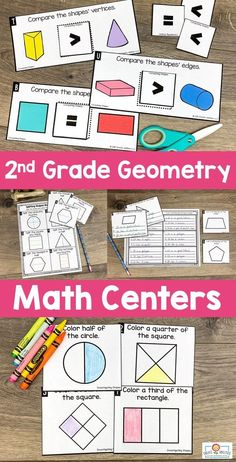 2nd Grade Geometry Math Centers - Here your second graders get 387 pages of geometry, attributes of shapes, and partitioning shapes math centers. You'll find 25 hands-on games and center activities, center signs, game boards, math journal pages, and more. Click through to see the sorts, activities, drawing, investigations, Memory game, and more! {Year 2} #Math #2ndGrade #Year2 #2ndGradeGeometry Activity Centers, Math Centers, Quick Print, Center Signs, Shape Matching, 2nd Grade Classroom, Game Boards, Math Journals, Memory Games