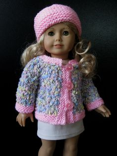 "3 pc Hand Knit Doll confetti sweater set American Girl Gotz knitted 18"" clothes"