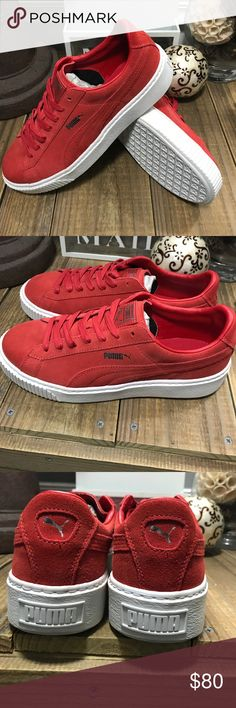 💥💥 Puma Suede Platforms 💥💥 NWOT These are one of the HOTTEST pair of sneaker out right now!!! These cherry & white are accented with silver Puma logos 😍. Perfect for the 4th of July 🇺🇸Women's 10.5. 🚫 Trades 🚫Holds 🚫Lowball offers. Thanks! Puma Shoes Sneakers