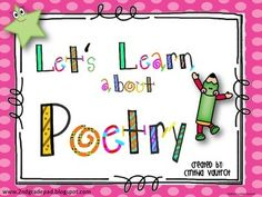 Poetry! In Let's Learn About Poetry your students will learn about 12 different types of poems:1)  Acrostic Poems2)  Autobiographical Poems3)  Cinquain Poems4)  Diamante Poems5)  Couplet Poems6)  Triplet Poems7)  Limerick Poems8)  Haiku Poems9)  Rebus Poems10) Shape Poems11) Free Verse Poems12) Color PoemsUse of all these poems (or pick those that best suits the needs of your grade level) as students learn about different types of poems and create their own poetry books.