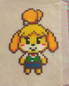 Isabelle - Animal Crossing perler beads by dankpixelgaming Pearler Bead Patterns, Perler Patterns, Pearler Beads, Hama Beads Animals, Beaded Animals, Animal Crossing, Beaded Cross Stitch, Cross Stitch Patterns, Pixel Art