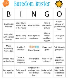 Fun BINGO idea for a summer boredom buster! They also include a blank BINGO printable if you want to personalize it.